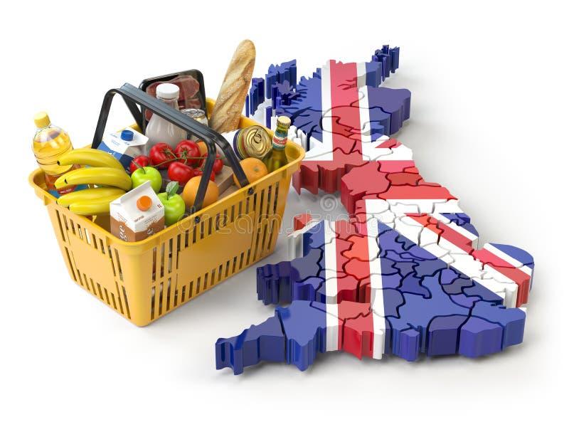 Marknadskorg eller konsumentprisindex i UK Storbritannien Shopp stock illustrationer