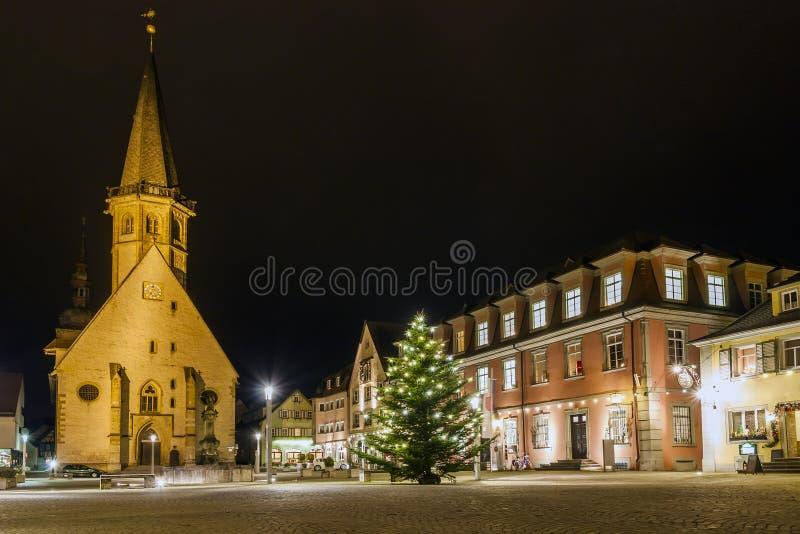 Marknadsplats av den historiska staden av Weikersheim, Baden-Wurttembe arkivfoto