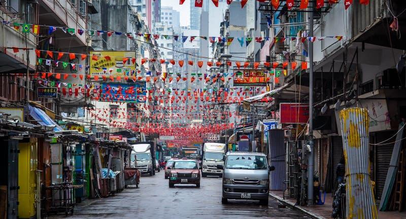 Marknadsplats som är klar att ställa in i Hong Kong arkivbild