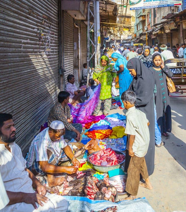Marknadsscenario i Delhi royaltyfri bild