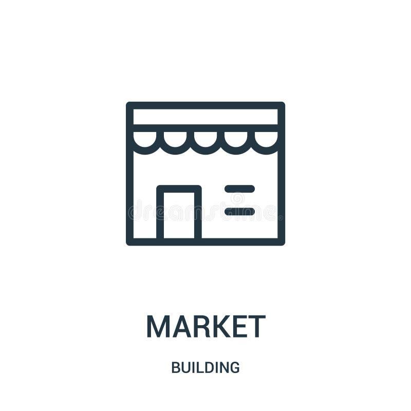 marknadssymbolsvektor från byggnadssamling Tunn linje illustration för vektor för marknadsöversiktssymbol royaltyfri illustrationer