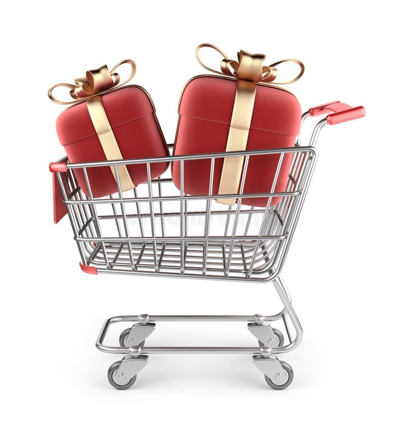 Marknadsvagn med röda gåvor. isolerad 3D vektor illustrationer