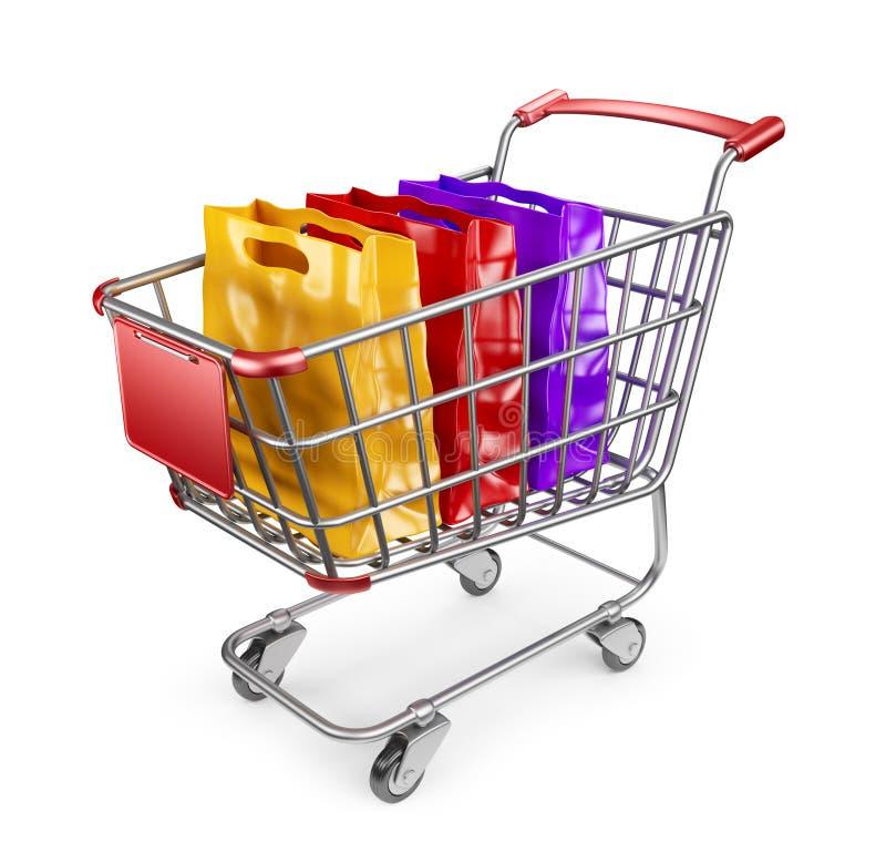 Marknadsvagn med shoppingpåsar. isolerad 3D stock illustrationer