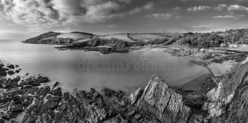 Markotny Seascape, Gribbin głowa, Cornwall, UK zdjęcia stock