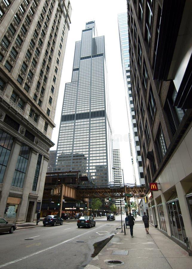 Markplansikt av Willis Tower royaltyfri foto