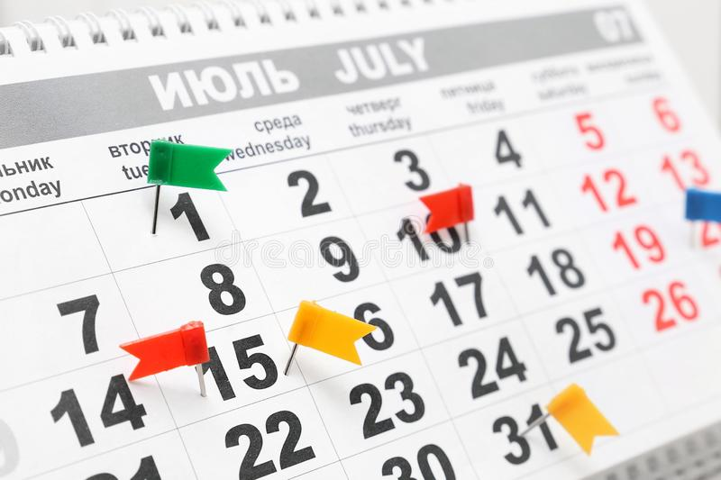 Marks about events on the calendar stock image