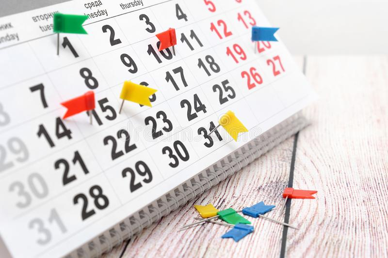 Marks about events on the calendar royalty free stock photo