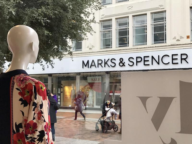 Marks & Spencer store. Marks & Spencer Group plc also known as M&S is a major British multinational retailer headquartered in Westminster, London that royalty free stock photos