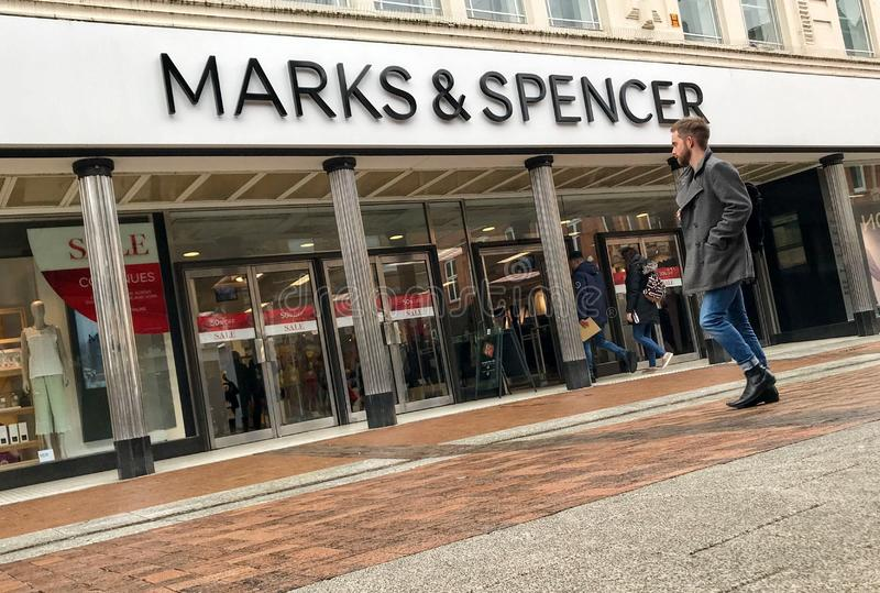 Marks & Spencer store. Marks & Spencer Group plc also known as M&S is a major British multinational retailer headquartered in Westminster, London that stock photo