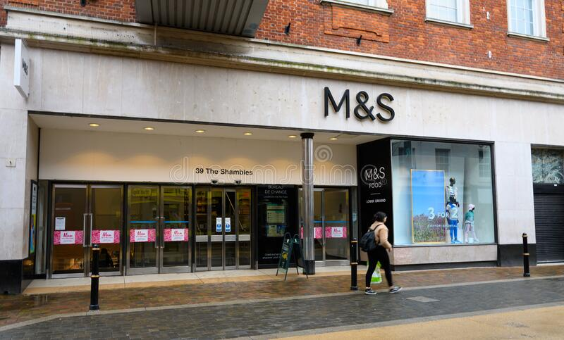 Marks and Spencers Worcester. Worcester, United Kingdom - March 15 2020:  The frontage of Marks and Spencer Department store on The Shambles stock photos