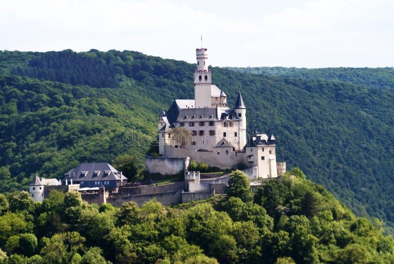 Marksburg slott på flodRhen arkivfoton
