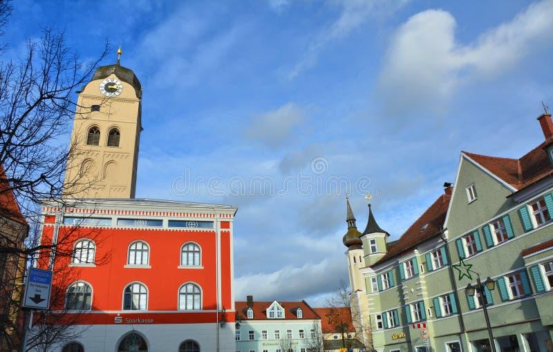 Markstein der kleinen deutschen bayerischen Stadt Erding stockbilder