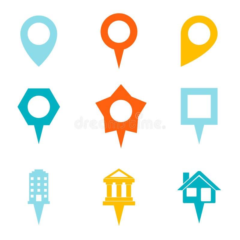Markstein-und Showplace-Symbol-Karten-Zeiger-Kennzeichen stock abbildung