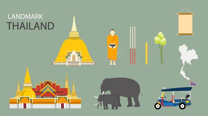 Markstein von Bangkok, Thailand lizenzfreie abbildung