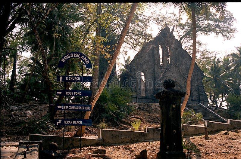 Marksteine bei Ross Island, Andaman lizenzfreies stockbild