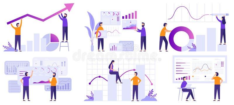 Markt-Analytik Finanzvorhersage, Tendenzprognose und Vektorillustrationssatz Geschäftsstrategie Analytics flacher lizenzfreie abbildung
