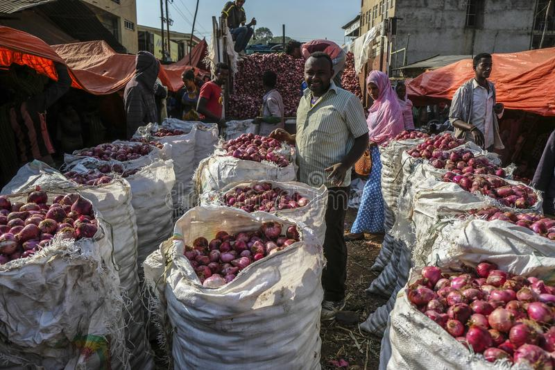 Markt in Bahir Dar, Ethiopië stock afbeelding