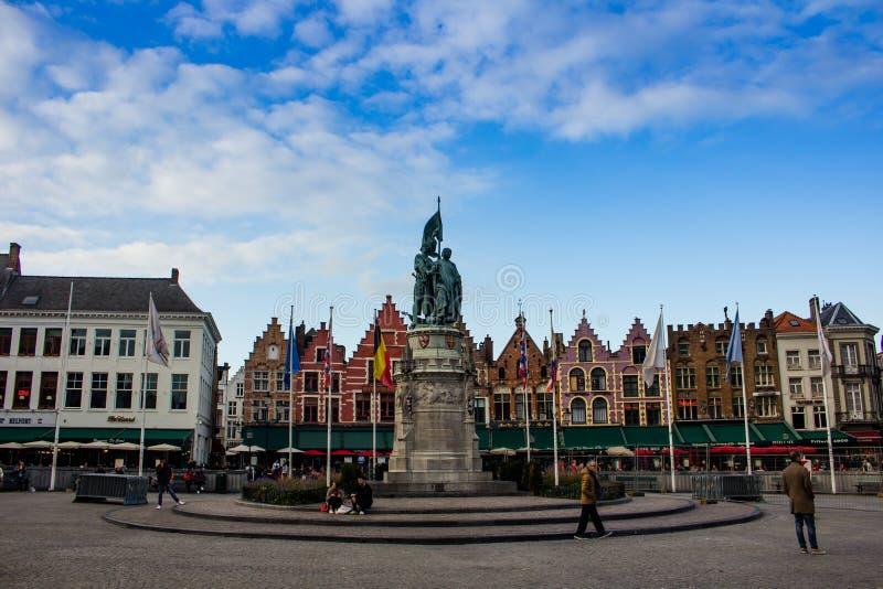 Central Square Bruges stock image