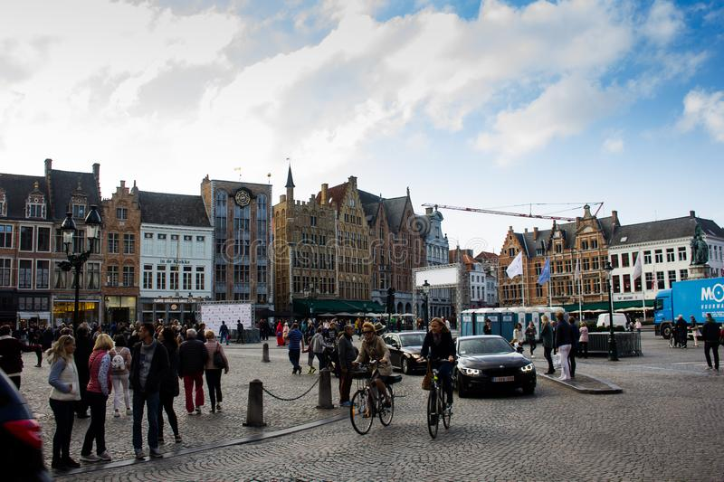 People in Central Square - Bruges, Belgium stock photos