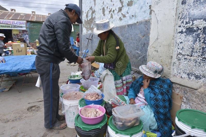 Markt, Chivay, Peru stock foto's