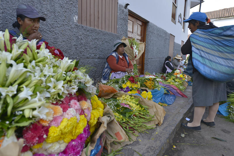 Markt, Cuzco, Peru stock foto's