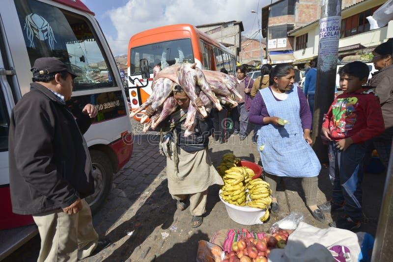 Markt, Cuzco, Peru stock foto