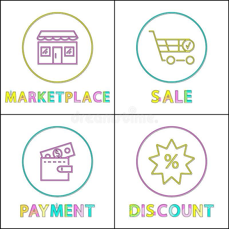 Markt en betalingsaffiche vectorillustratie vector illustratie