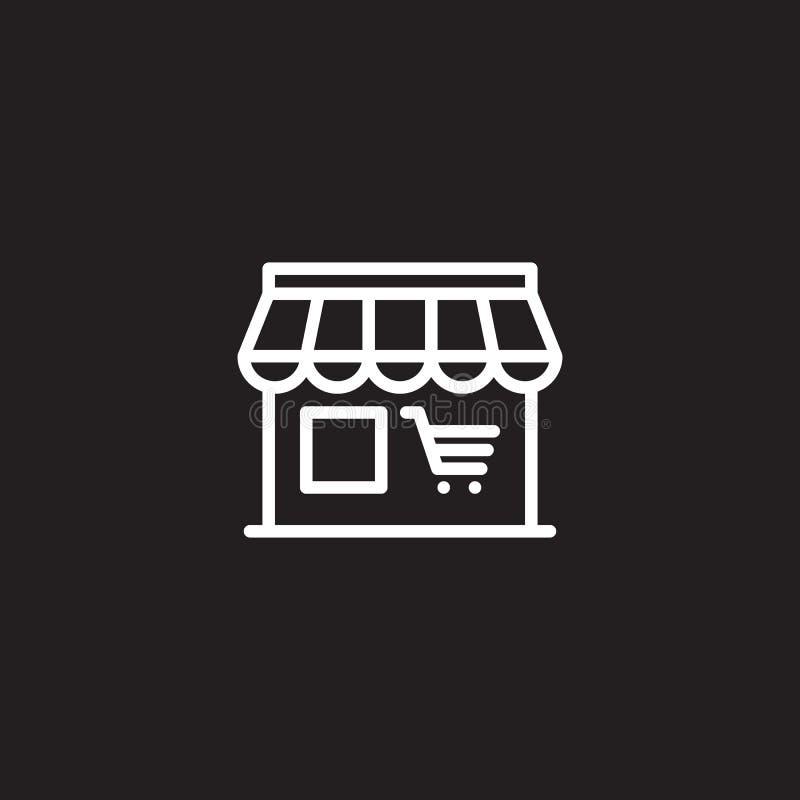 Markt, het pictogram van de winkellijn, overzichts vectorteken, lineair wit die pictogram op zwarte wordt geïsoleerd stock illustratie