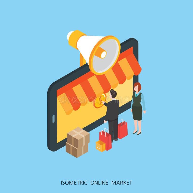 Markt-Konzeptdesign der flachen isometrischen Illustration 3d on-line-, abstrakte städtische moderne Art, Geschäfts-Reihe der hoh lizenzfreie abbildung