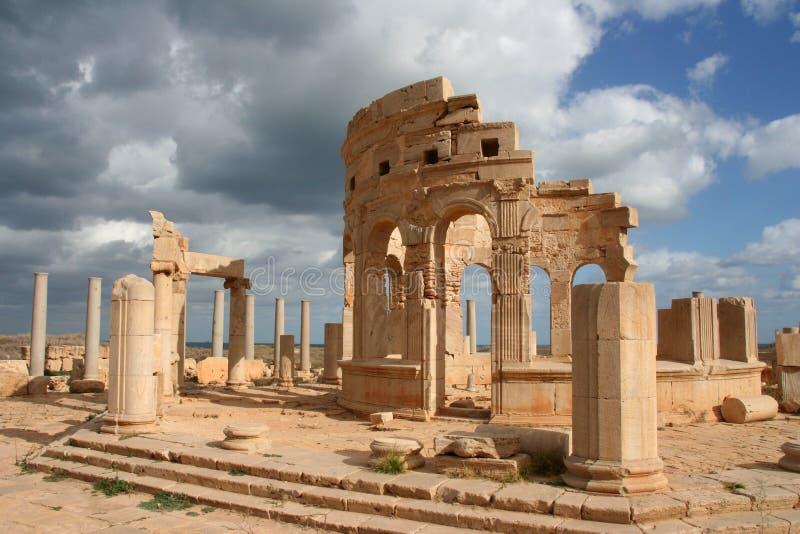 Markt am Leptis Magna Libyen lizenzfreies stockfoto