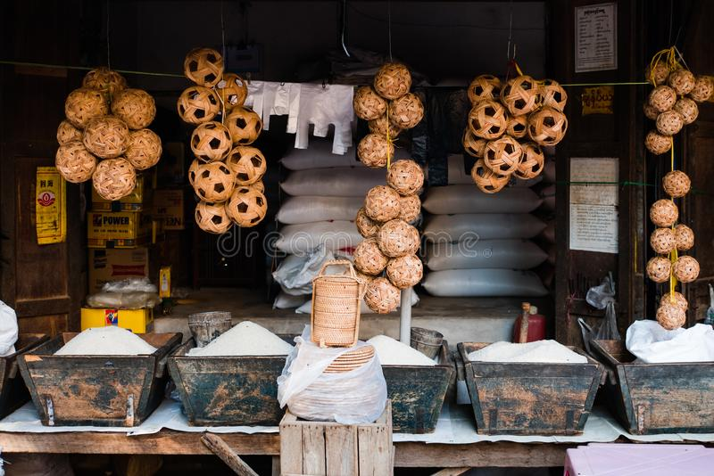 Markt Mani-Sithu in Nyaung-U, Myanmar (Birma) stock fotografie
