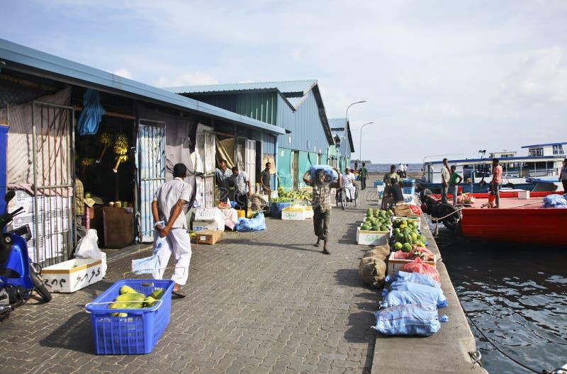 Markt in Mannetje Republiek van de Maldiven stock fotografie