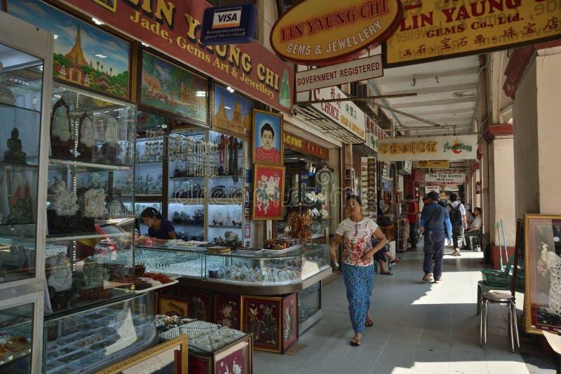 Markt Ranguns Bogyoke Aung San stockbilder
