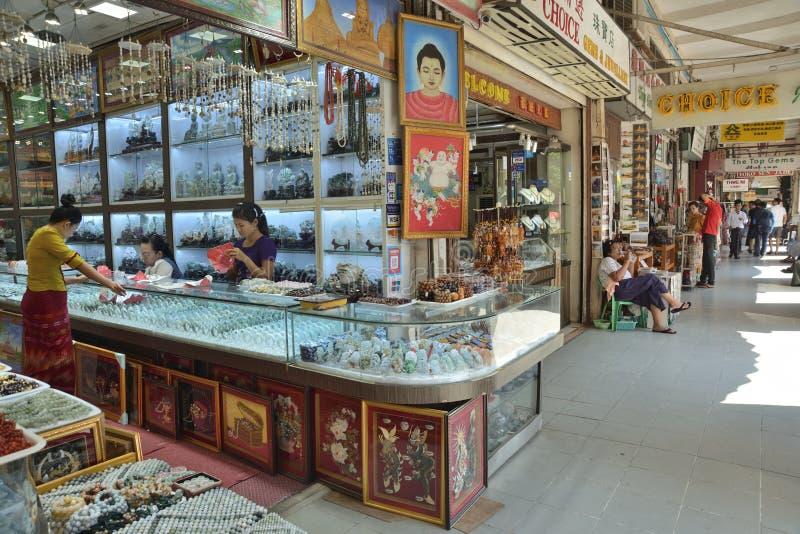 Markt Ranguns Bogyoke Aung San stockfotos