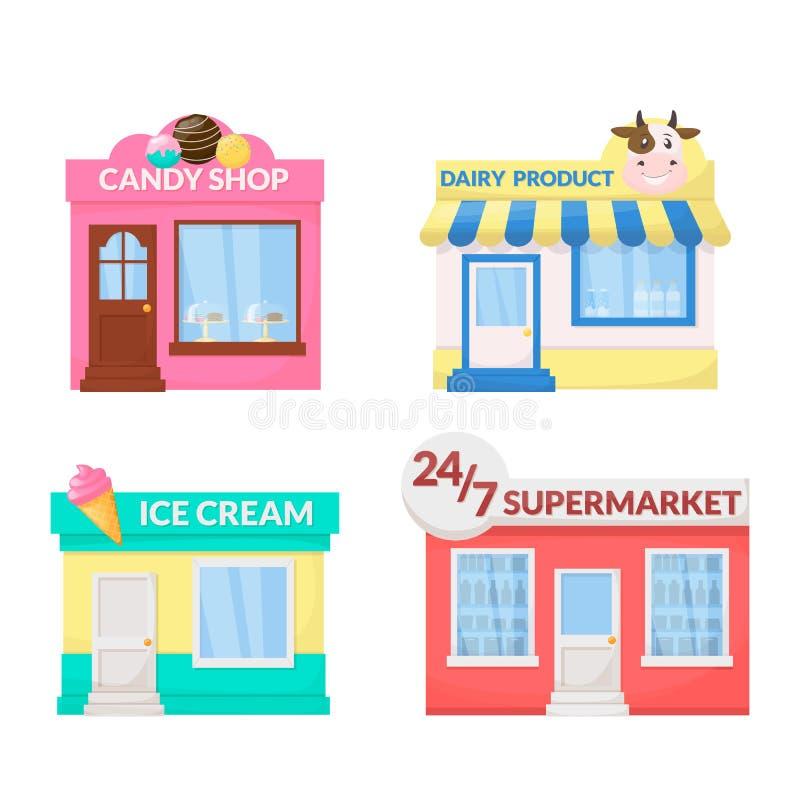 Markt, storefront Roomijs, zuivelproduct, suikergoedwinkel, supermarktopslag de bouwvoorgevel Vector royalty-vrije illustratie