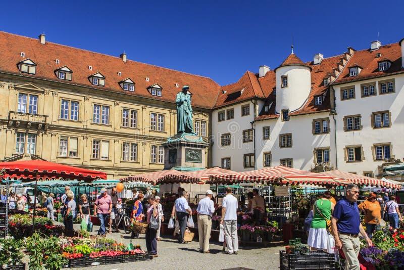 Markt in Stuttgart, Duitsland stock foto
