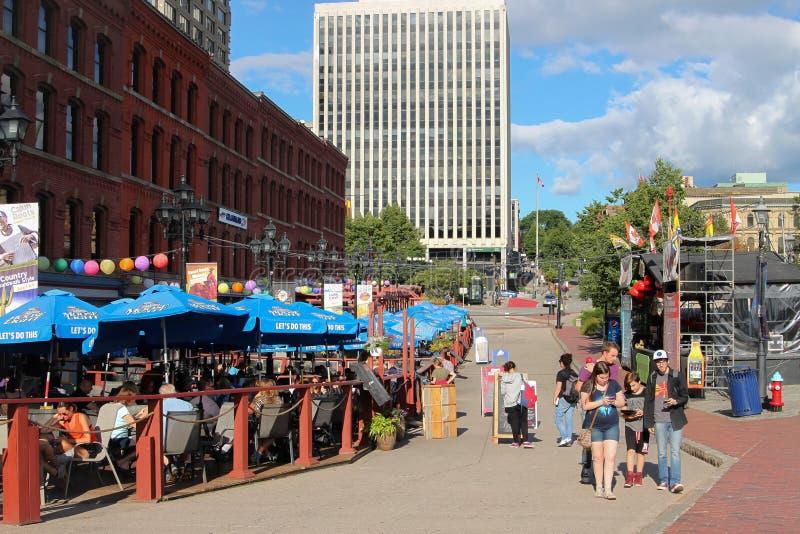 Markt Vierkante promenade, Heilige John NB stock foto