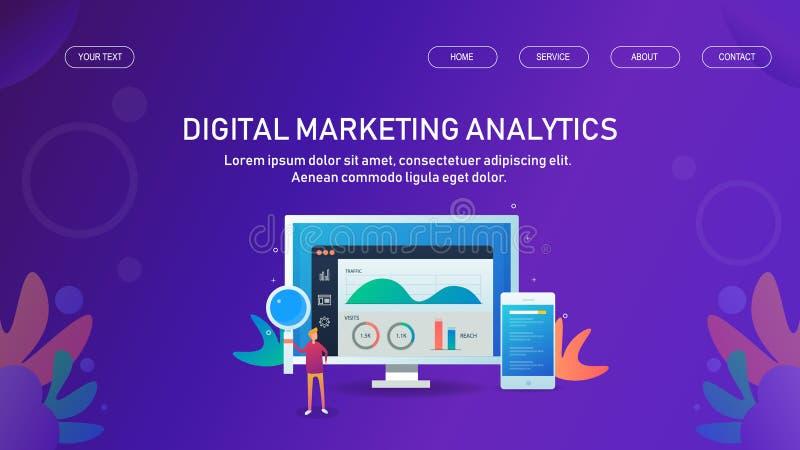 Marktanalyse Digital, Datenwissenschaftler, der Marketing-Daten, Informationen, Statistik, Vektornetz-Fahnenschablone analysiert stock abbildung