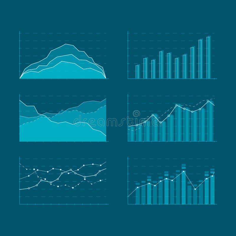 Marktelemente der kommerziellen Daten Schablonendiagramme und flache Ikonen der Diagramme eingestellt Elemente für HUD-Konzept Ve stock abbildung