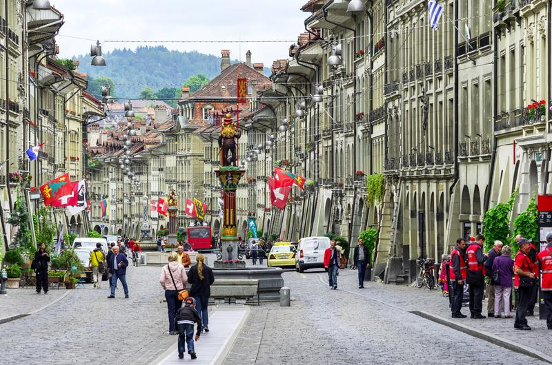 Marktgasse ulica Bern, Szwajcaria obrazy stock