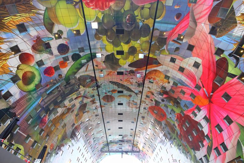 Markthal Rotterdam modern colorful architecture roof vegetables and fruit stock photography