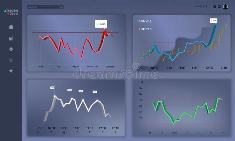 Markthandel Binaire optie Handelsplatform, rekening vector illustratie