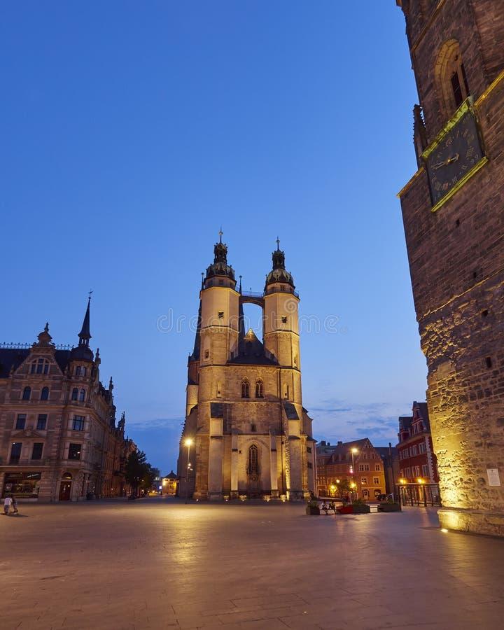 Marktkerk van Onze Beste Dame in Halle, Duitsland royalty-vrije stock foto