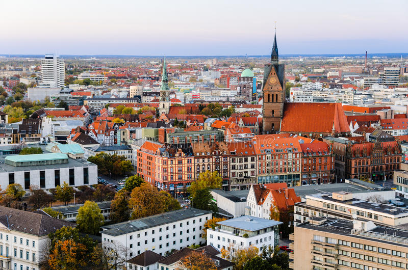 Marktkirche e città di Hannover, Germania fotografia stock