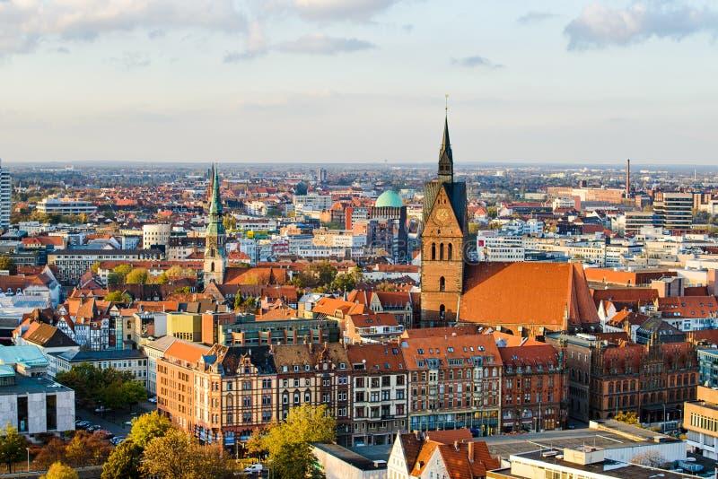 Marktkirche e città di Hannover, Germania immagine stock libera da diritti