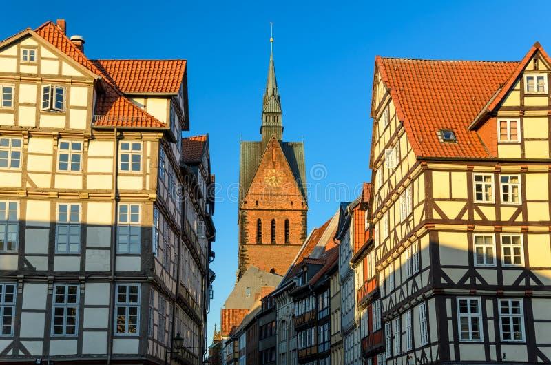 Marktkirche e vecchia città di Hannover, Germania fotografia stock