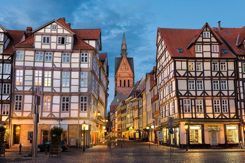 Marktkirche en oude stad in Hanover, Duitsland royalty-vrije stock foto's