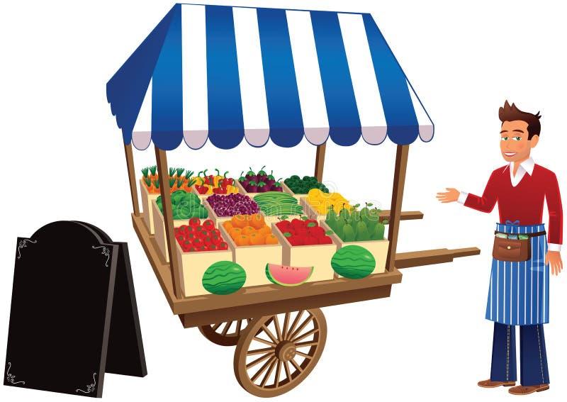 Marktkraam en handelaar vector illustratie