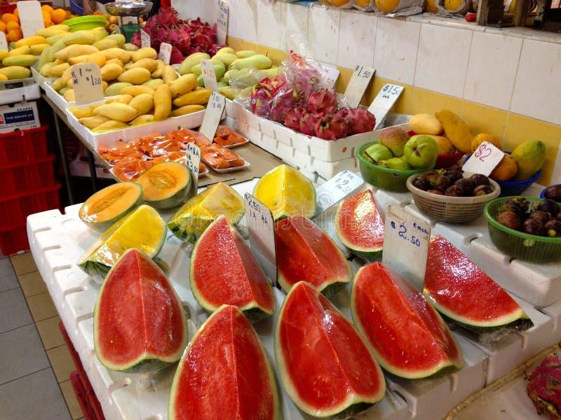 Marktkramen in de Stad van Singapore China stock foto