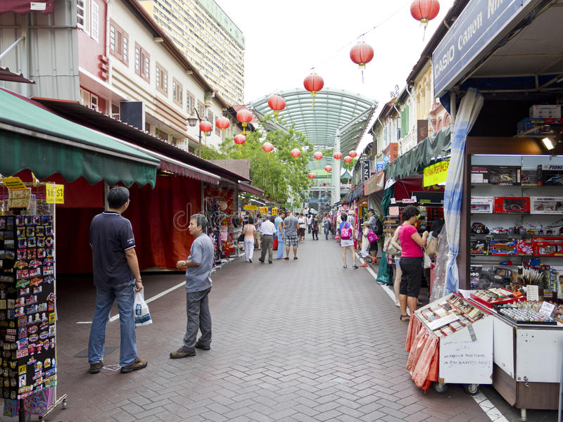 Marktkramen in Singapore chinatown royalty-vrije stock fotografie